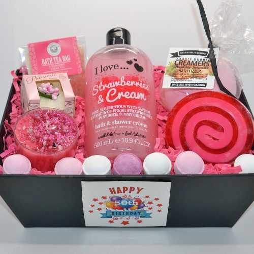 Celebrate Her 50th BirthdayStrawberry Pamper Hamper Gift Box