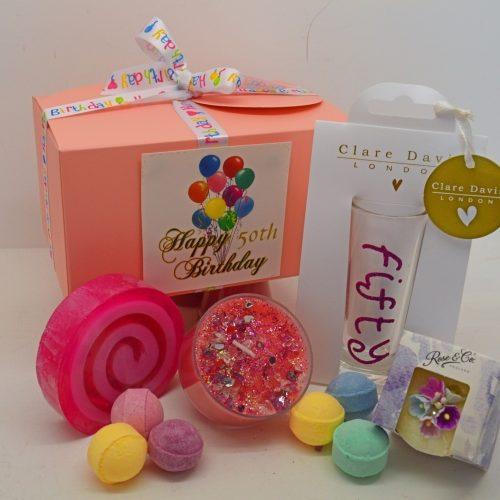 Ladies Happy 50th Birthday Pink Glitter Shot Glass Gift Box