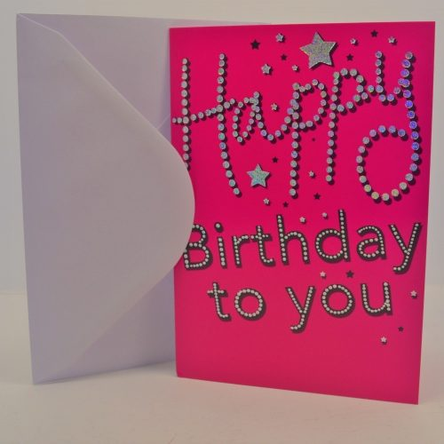 Ladies Happy Birthday To You Pink Sparkle Card
